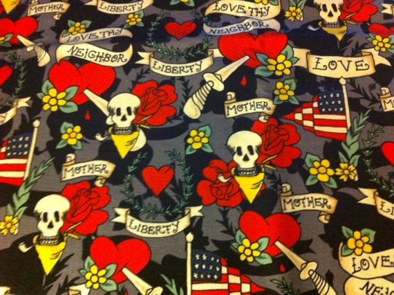 Michael Miller tattoo love fabric - 1 yard available