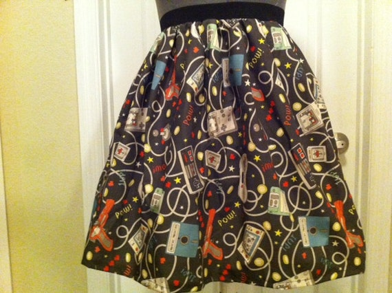Reserved for Tamz - Video gaming fabric full skirt