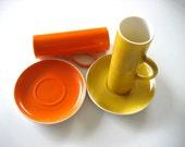 2 Vintage Espresso, demitasse Cups & Saucers.  La Gardo Tackett  for Schmid.  Dark Yellow and Orange. Mid century modern, Danish Modern, Eames era. 1960's.