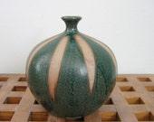 Vintage Modern Art Pottery Vase.  Unmarked 1960's Weed Pot.   Green Glaze.