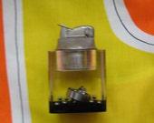 Vintage Lucite Lighter.  Encased ball bearings.  1960's.  Cigar Cigarette Table Lighter.