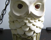Hanging OWL Lamp.  Vintage 1970's Ceramic.  Hollywood Regency, Mid century modern, Danish Modern, Eames Panton era.