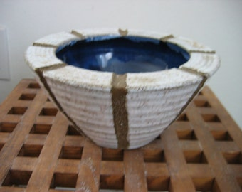 Gorgeous Japanese Art Pottery Bowl. Modernist 1960's.   Vintage Made in Japan.  Deep Blue interior Glaze.