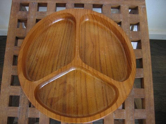 Divided Wooden Dish.  Groovy Pattern, 9.5 inch.  Hollywood Regency,  Mid century modern, Danish Modern, Eames era.  1960's.