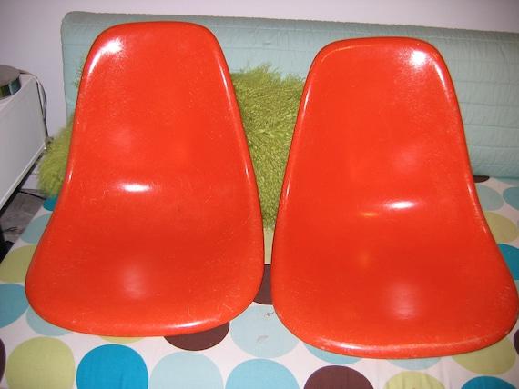 HOLD for Josh.   Vintage PAIR Herman Miller Orange Fiberglass chairs.  Mid century modern, 2 Eames Chairs1960's.