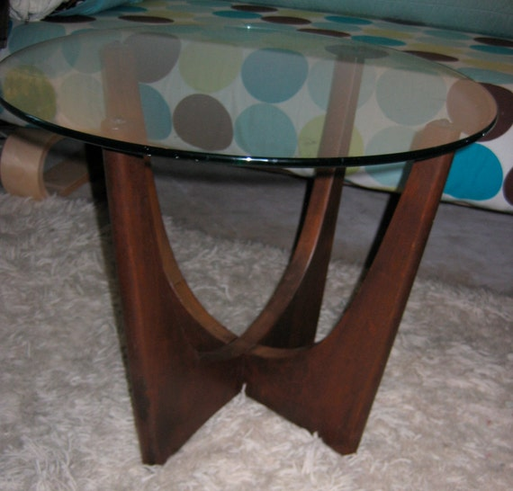 Vintage Walnut and Glass Table.  Pearsall, Kagan style Side table.   Mid century modern, Danish Modern, Eames era. Deco 1960's styling.