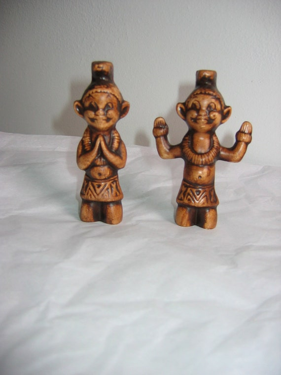 Vintage Treasure Craft Menehune.  Pottery Hawaiian figures. 1960's.  Tiki Bar, hawaiiana, Decor