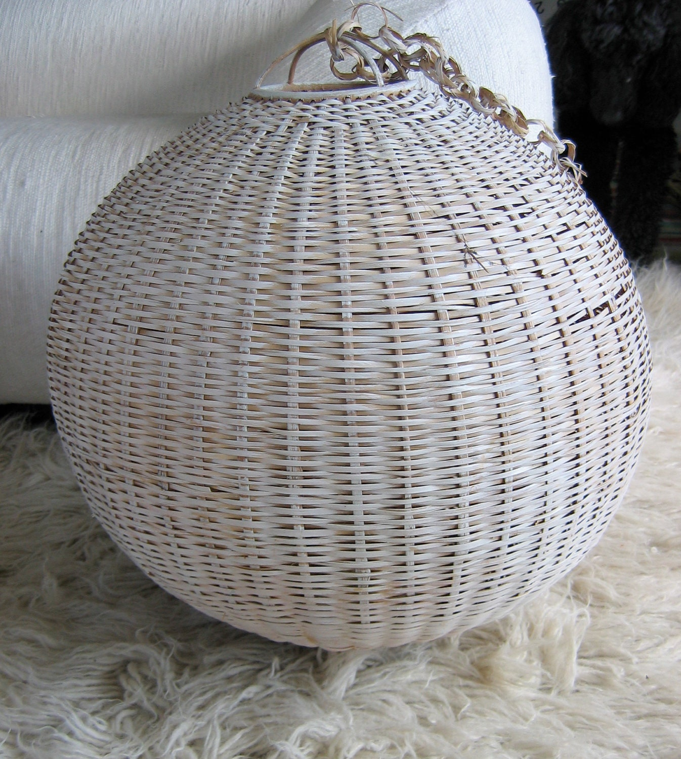 Rattan Wicker Hanging Lamp Shade Vintage By Thegroovevintage