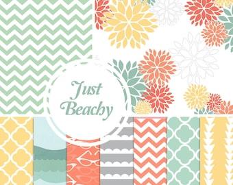 Digital Paper Pack: Just Beachy - 10 Printable Paper Patterns
