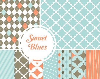 Digital Paper Pack: Sunset Blues - 10 Printable Paper Patterns