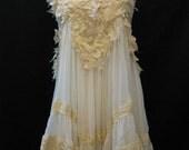 Custom Made Pretty Ivory Lace with White Chiffon Babydoll Dress