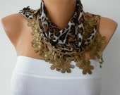 Black Brown Scarf   Cotton Scarf Headband Necklace Cowl with Wood Bead  Edge  Gift for Her