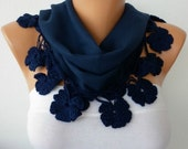 Women Pashmina  Scarf  - Cotton Scarf -  - Cowl with Lace  Edge - Navy Blue