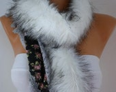 Knitted  Scarf  -  Headband - Cowl with Lace and Pompom Edge - White