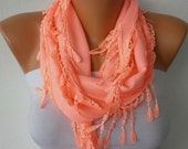 Coral Scarf  -  Pashmina Scarf  - Headband Necklace Cowl with Lace Edge