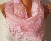 ON SALE - Easter Pink  Scarf  -   Cowl with Lace Edge Fashion Accessories