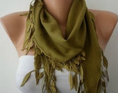 Olive Green Scarf -  Pashmina Scarf  - Cowl Scarf with Lace Edge - fatwoman