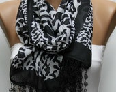 Leopard Print  Scarf -  Shawl Scarf Cotton Scarf  Cowl Scarf Gift Ideas For Her Women's Fashion Accessories