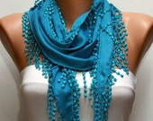 ON SALE - Dodger Blue Scarf  -  Pashmina Scarf  -  Cowl with Lace Edge