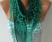 Emerald Green Scarf  - Summer Scarf -Cotton Cowl Scarf - Shawl  with Lace Edge   -fatwoman - Bridesmaids Gifts - fatwoman