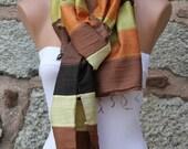 ON SALE - Ombre Scarf Multicolor Silk Shawl Scarf -  Cowl