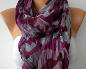 Purple Leopard Women Shawl Scarf - Cowl Scarf   - Multicolor - Purple Tones - Pareo - fatwoman