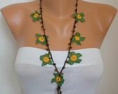 Crocheted Necklace oya flower with semiprecious stones - Flower