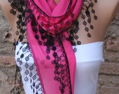 Hot Pink Scarf  - Cotton  Scarf -  Cowl with Lace Edge   - fatwoman