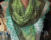 Pistachio Plaid  Scarf -  Cotton Scarf  Cowl with  Lace Edge