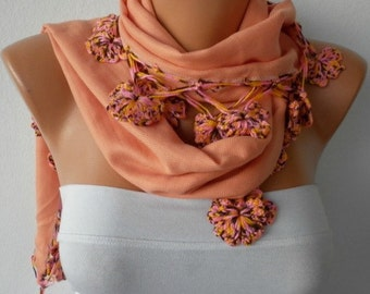 Apricot Pashmina Scarf,Fall Winter Scarf,Chiristmas Gift, Shawl,Bohemian, Cotton Cowl Gift Ideas For Her Women Fashion Accessories