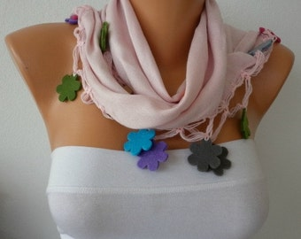 Pale Pink Scarf Pashmina Scarf  Cowl Felt Flower Gift Ideas For Her Women Fashion Accessories