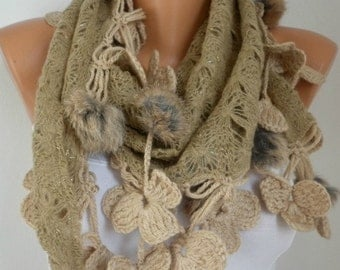 Beige Knitted Floral Pompom Scarf, Winter Accessories Shawl Cowl Scarf Bridesmaid Gift Gift Ideas For Her Women Fashion Accessories Scarves
