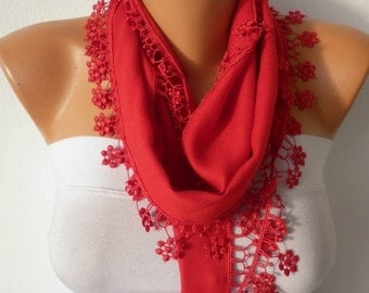 Red Floral Pashmina Scarf,Wedding Scarf,Christmas Gift, Easter Cowl Scarf Bridesmaid Gift Gift Ideas For Her Women's Fashion Accessories