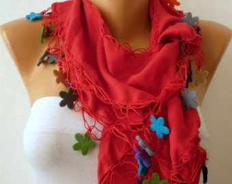 Red Pashmina Scarf Felt Floral Scarf,Bohemian,Christmas Gift, Women Fashion Accessories Gift
