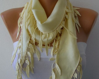 Light Yellow leaves Pashmina Scarf Easter Shawl Cowl Bridesmaid Gift Bridal Accessories Gift Ideas For Her Women's Fashion Accessories