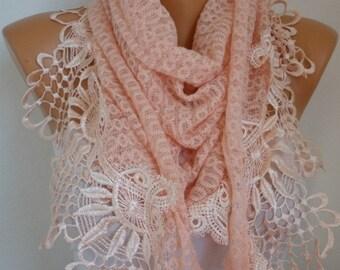 Unique Salmon Knitted Scarf ,Shawl, Wedding shawl, Cowl with Lace Edge,Bridal Scarf,Winter Scarf,Women Fashion Accessories,