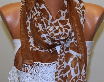 Brown Cotton Leopard Print Scarf Spring Summer Fashion Shawl Cowl Scarf Bridesmaid Gift Ideas For Her Women Fashion Accessories