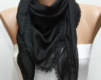 Black Cotton Scarf,Fall Winter scarf,Bridesmaid Gift, Necklace Cowl with Lace Edge,Women Scarves,Christmas Gift