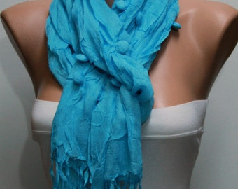 Turquoise Cotton Scarf, Summer Accessories, Shawl,Soft, Cowl Scarf, Gift  for Her,Women Fashion Accessories,women scarves,christmas gift