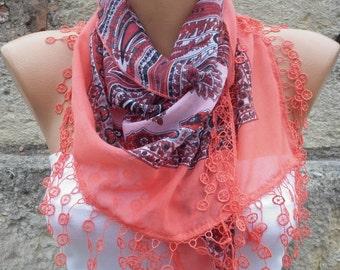 Coral Cotton Scarf, Summer Scarf, Wedding Scarf,Necklace Cowl Gift Ideas For Her Women's Fashion Accessories