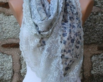 Floral Lace Scarf Summer Cowl Scarf Bridal Accessories Bridesmaid Gift Gift Ideas For Her Women Fashion Accessories Teacher  Gift