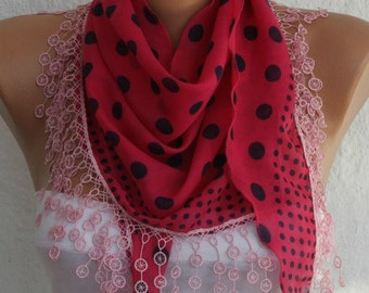 Pink & Black Polka Dot  Cotton Scarf, Summer Fashion ,Necklace,Shawl, Cowl Scarf,Gift Ideas For Her, Women Fashion Accessories