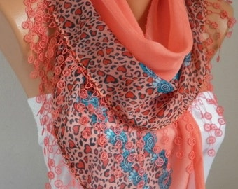Coral Cotton Scarf, Shawl,Wedding Scarves,Cowl with Lace Edge,Necklace,Gift ideas For her,Women Fashion Accessories