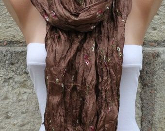 Brown Floral EmbroideredScarf,wedding Shawl Cowl Scarf Gift Ideas For Her Women Fashion Acessories bridesmaid gift Bridal Accessories