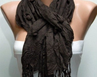Dark Brown Cotton Scarf, Fall Accessories, Shawl, Cowl Scarf, Gift Ideas for Her,Women Fashion Accessories,women scarves,christmas gift