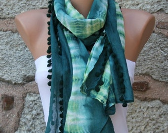 Emerald Green Ombre Cotton Scarf,Fall Shawl, Batik Design Cowl bridesmaid gift Gift Ideas For Her Women fashion Accessories Pompom Scarf