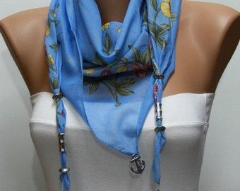 Floral Pendant Scarf,Necklace Cotton Scarf Cowl Scarf Anchor Scarf Gift Ideas For Her Women's Fashion Accessories Teacher Gift, Birthday