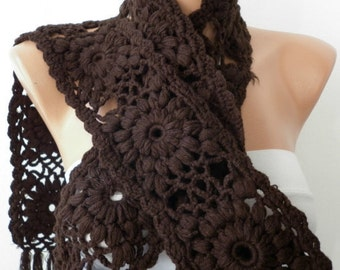 SALE - Crochet  Scarf - Women Cowl - Knit Scarf   - Granny Square  - Brown Chocolate -Neck warmer Cowl Scarf - fatwoman