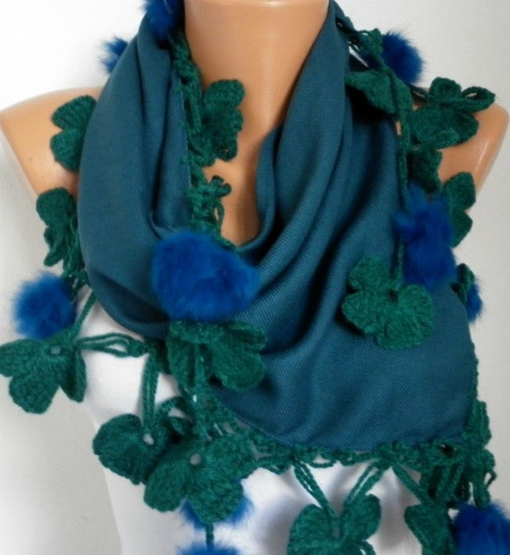 Pashmina  Scarf  - Cotton Scarf -  - Cowl with Lace Pompom Edge - Teal