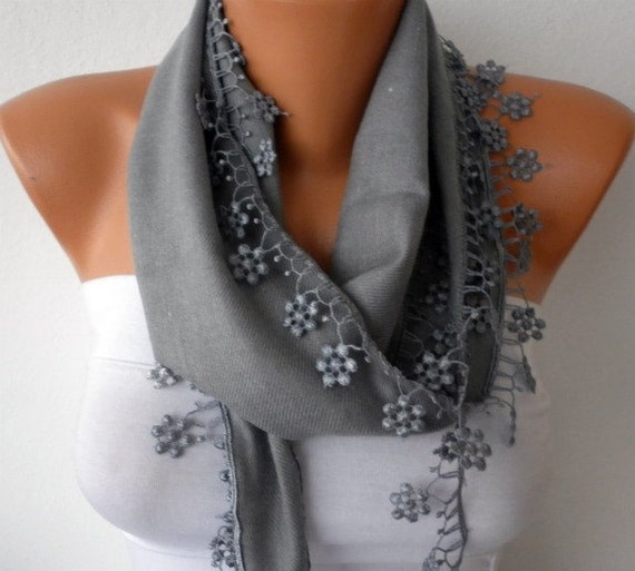 ON SALE - Silver Gray Scarf -  Pashmina Scarf  - Cowl with Lace Edge - Bridesmaid Gift